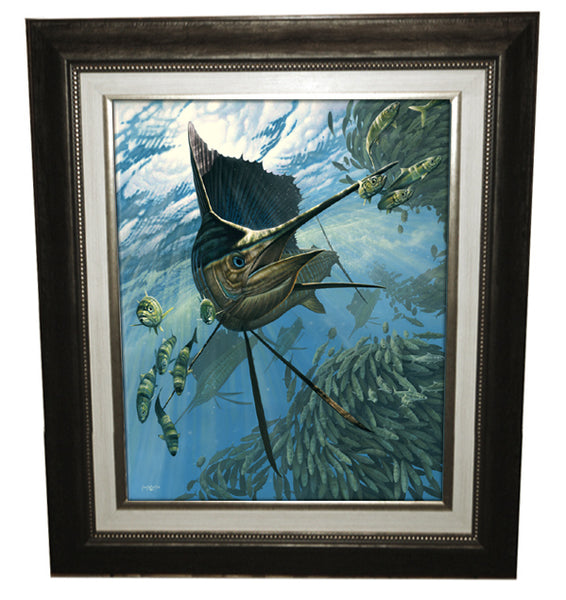 a framed painting of a sailfish chasing fish around a bait ball