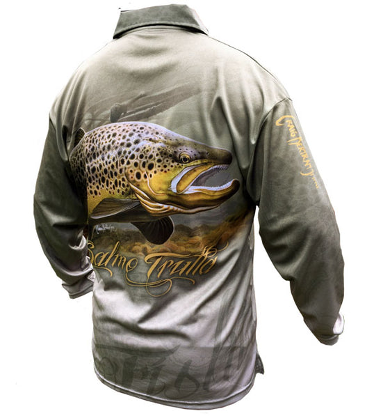 long sleeve fishing shirt with a brown trout image on it