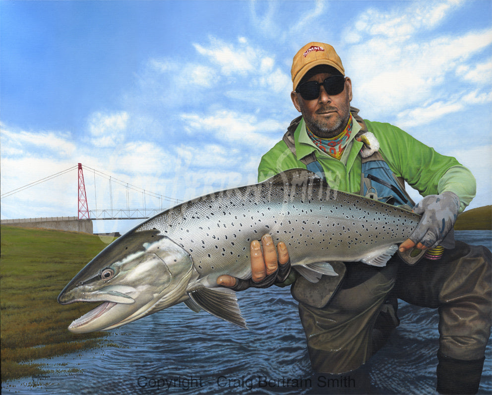 a painting of a fly fisherman holding up a sea trout at the river