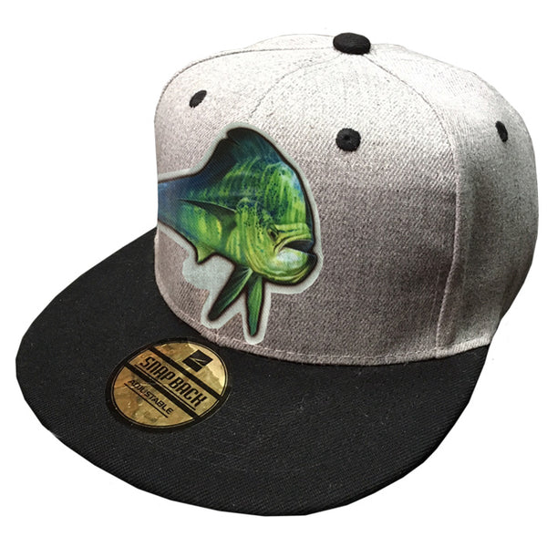grey trucker cap with a dorado on it