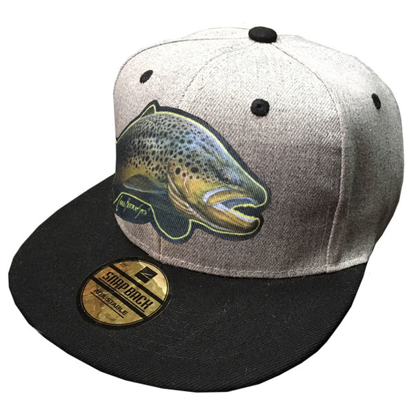 grey cap with a brown trout on it