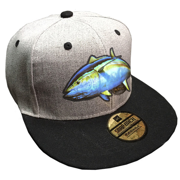 grey cap with a yellowfin tuna on it