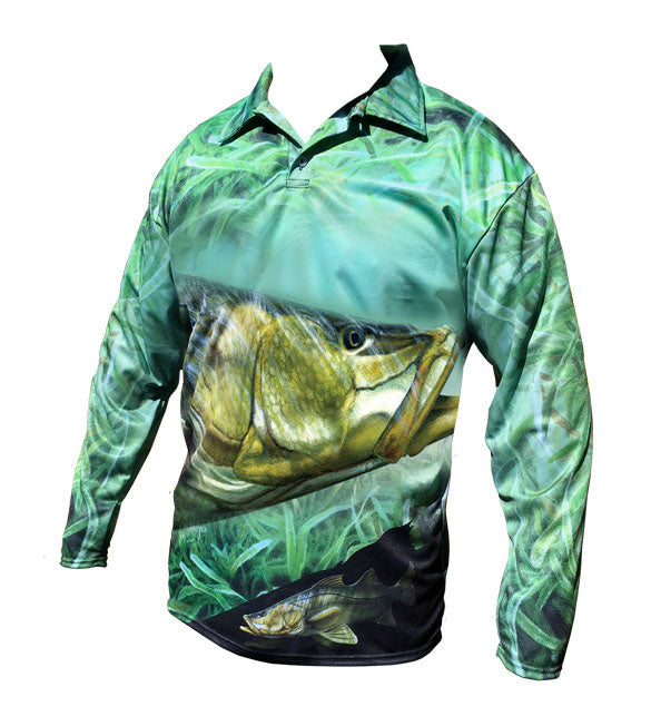 long sleeve fishing shirt with a snook image on it
