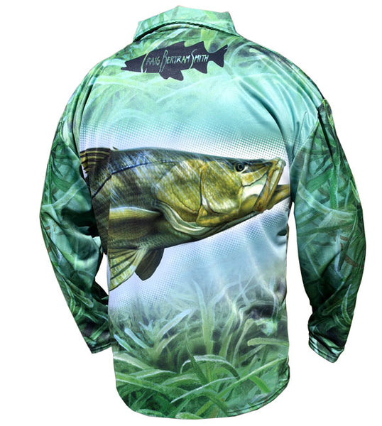 long sleeve black fishing shirt with a snook on it