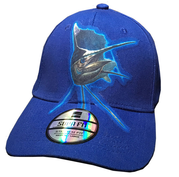 blue cap with sailfish artwork