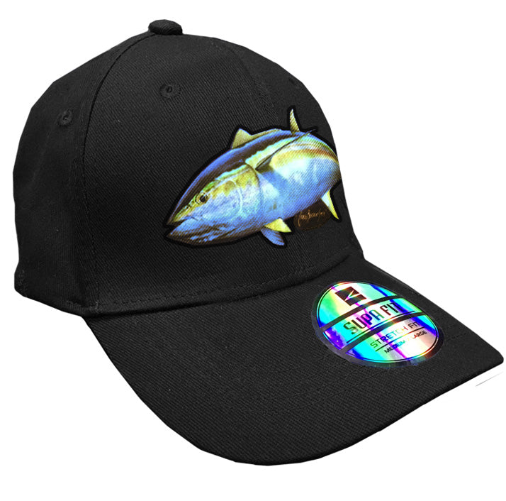black cap with a yellowfin tuna on it