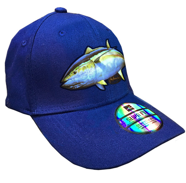 blue cap with a yellowfin tuna on it