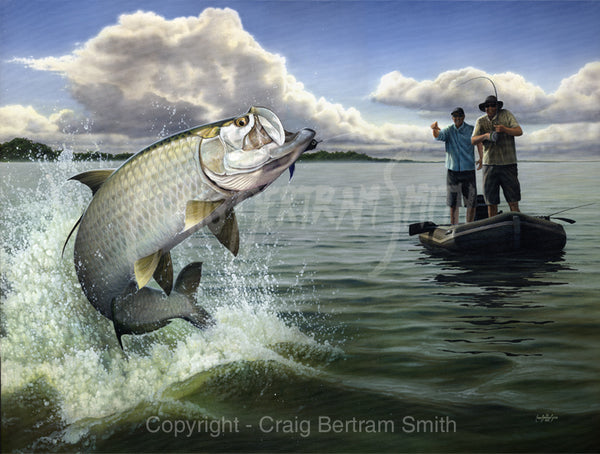 a painting of a tarpon jumping out of the water with a fly fisherman in the background