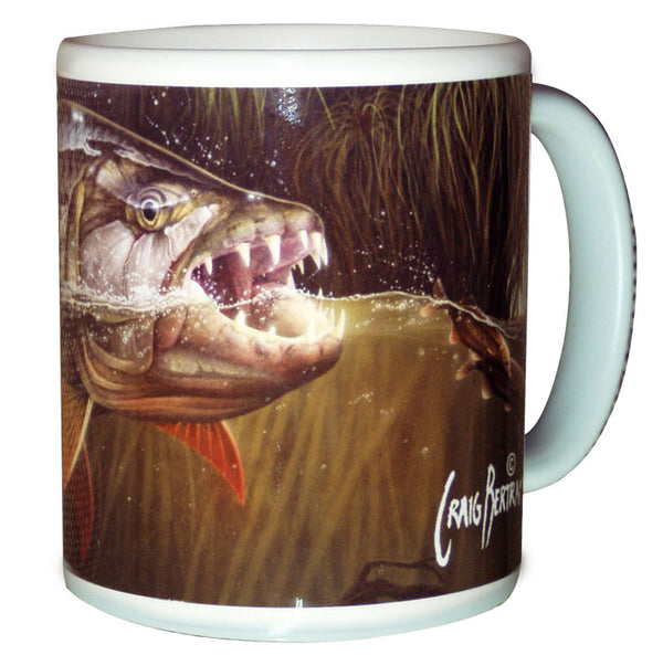 tigerfish fishing coffee mug