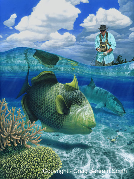 a painting of a fly fisherman stripping a fly to a yellow margin triggerfish