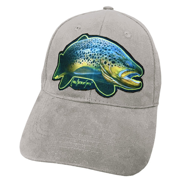 grey cap with brown trout artwork
