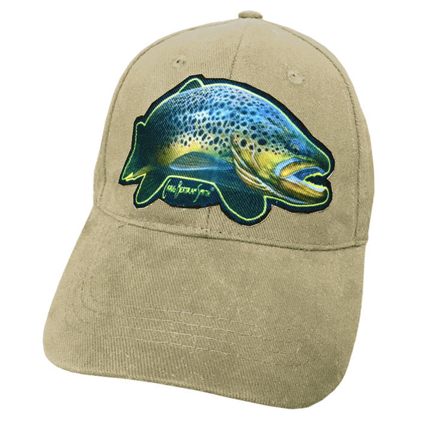 Beige cap with brown trout artwork