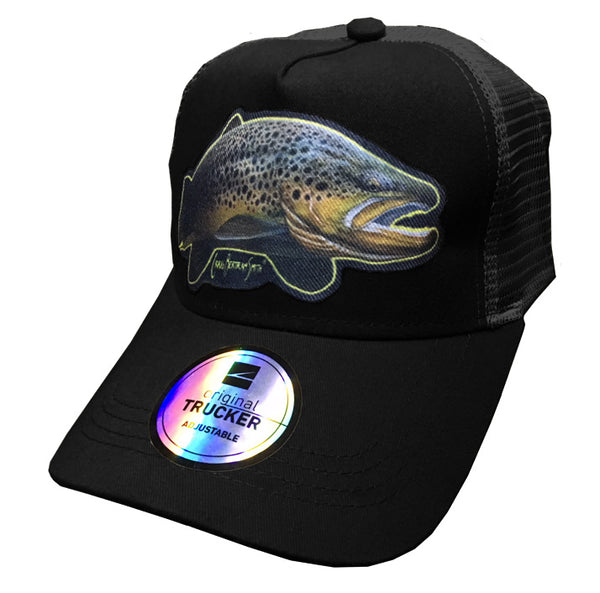 black trucker cap with brown trout artwork
