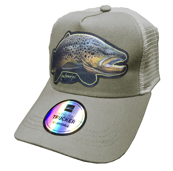 grey trucker cap with brown trout artwork