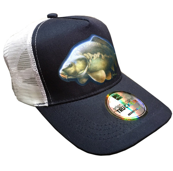 navy and white trucker cap with carp artwork