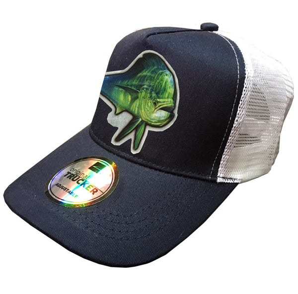 navy and white trucker cap with a dorado on it