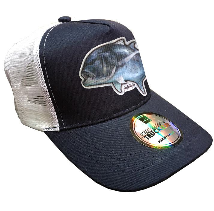 navy and white trucker cap with a GT on it
