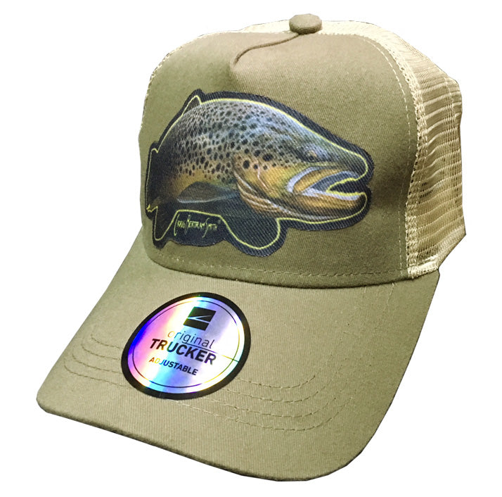 Khaki trucker cap with brown trout artwork