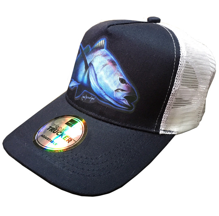 trucker cap with a kob image on it