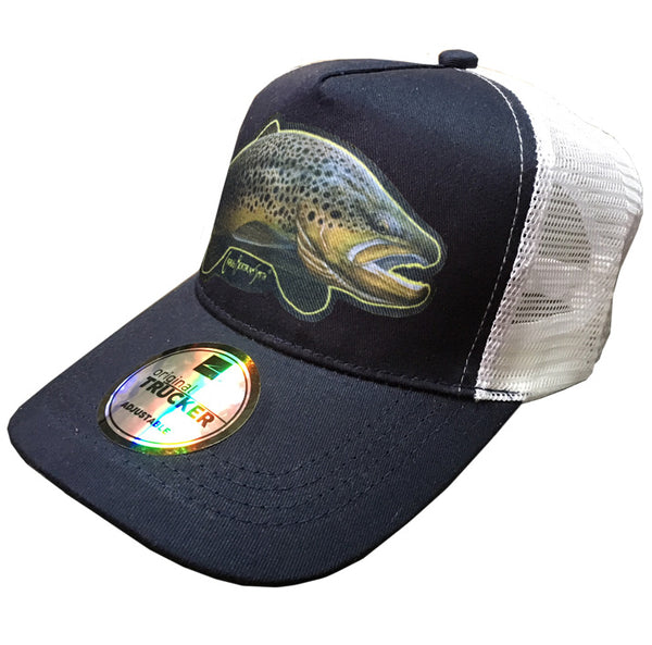 navy and white trucker cap with brown trout artwork