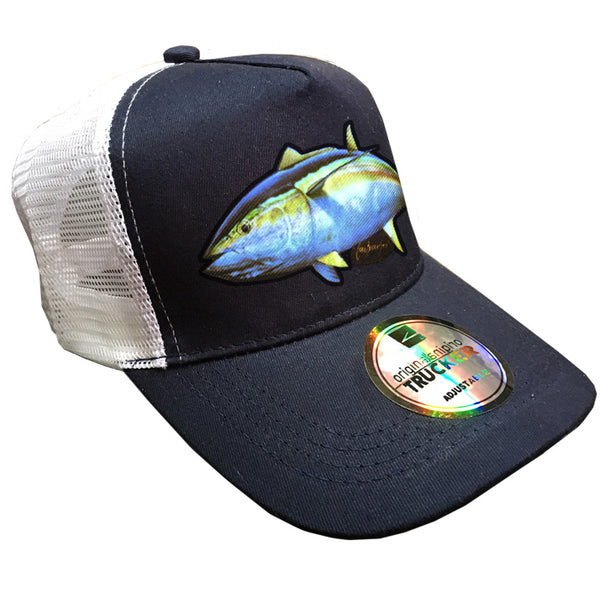 trucker cap with a yellowfin tuna image on it