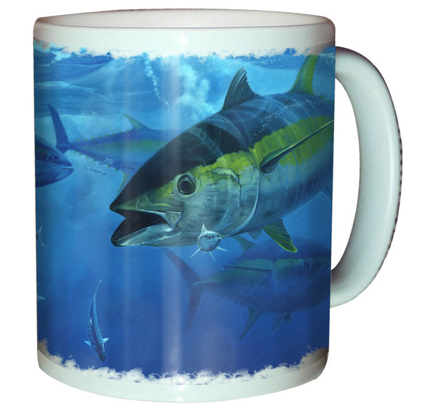 coffee mug with a yellowfin tuna printed on it