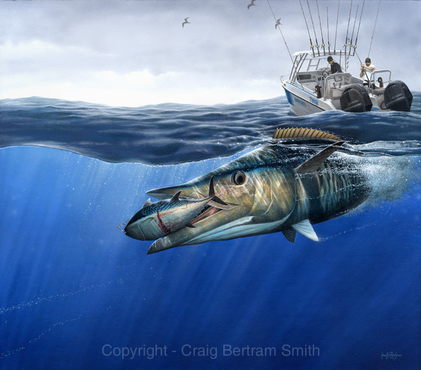 a painting of a wahoo attacking a tuna with a boat in the background