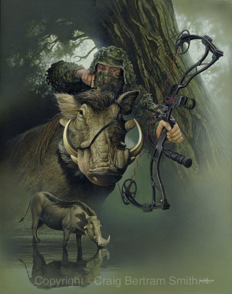 a painting of a bow hunter with a warthog in the foreground