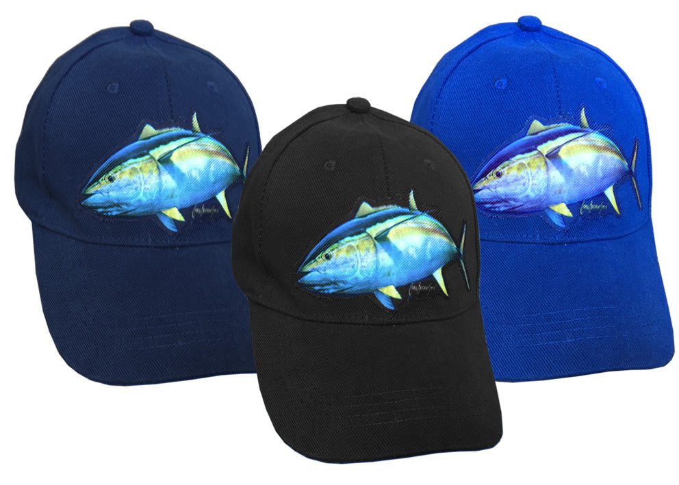 cap with yellowfin tuna artwork