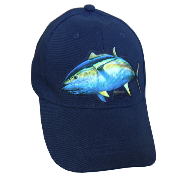 navy cap with a yellowfin tuna on it