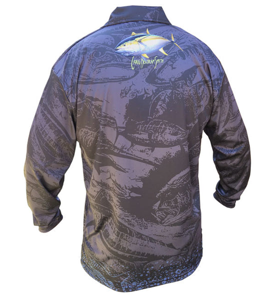 long sleeve fishing shirt with a yellowfin tuna image on it