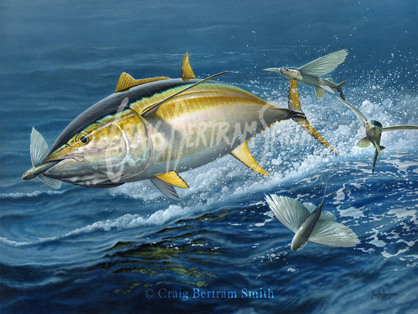 a painting of a yellowfin tuna chasing flying fish jumping out the water
