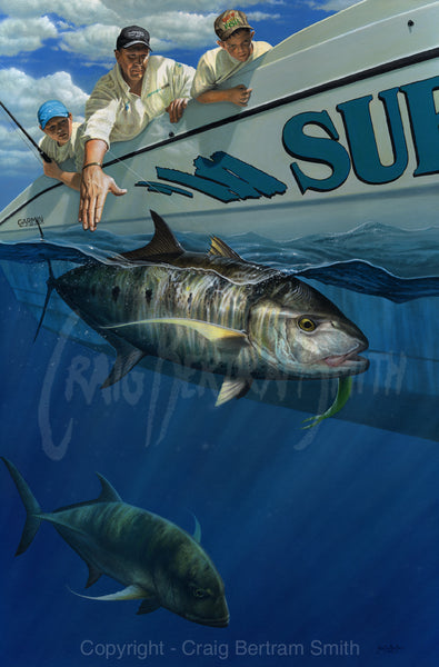 a painting of a yellowspot kingfish underwater with a fisherman in the background