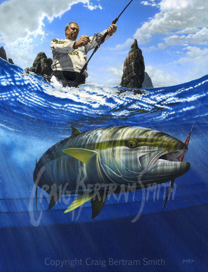 a painting of a yellowtail underwater with a fisherman in the background