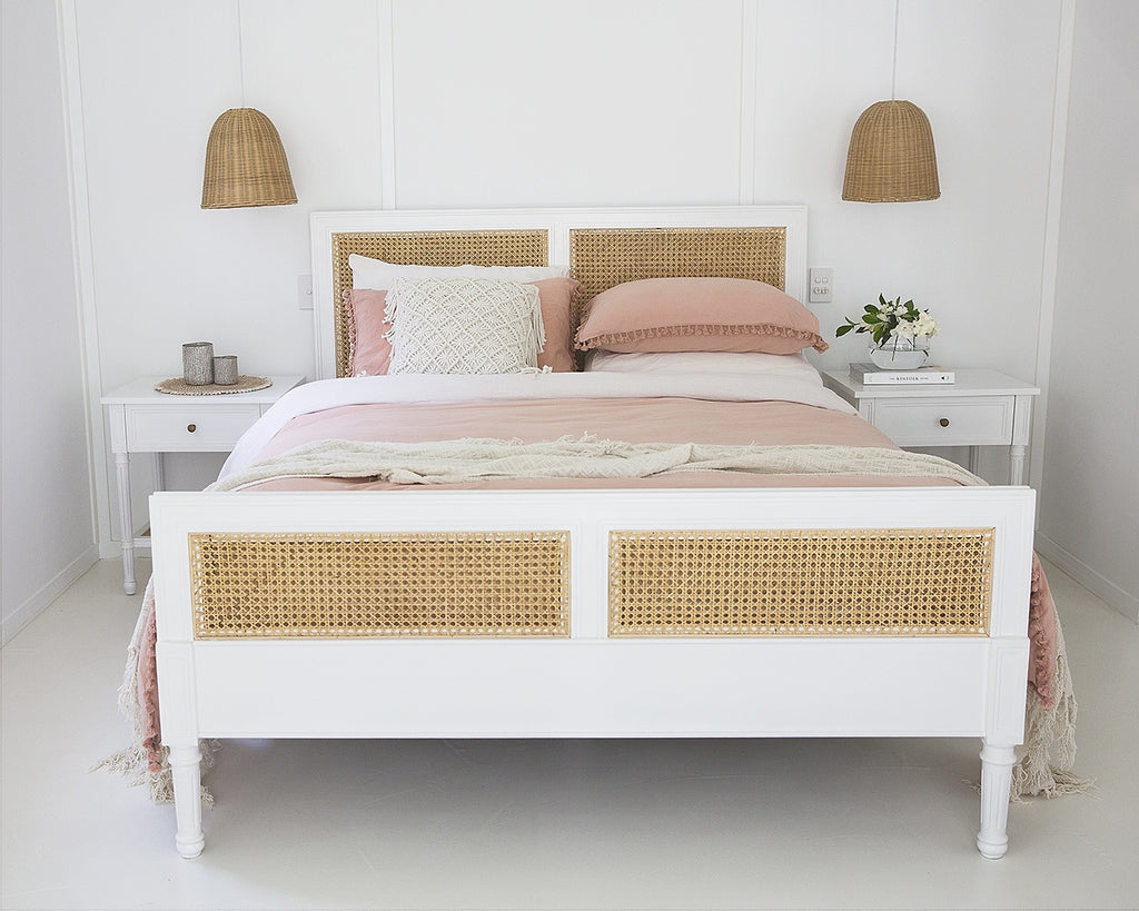 White Hamilton Cane Bed Queen Size