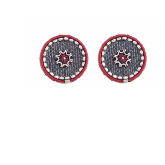 Ayalabar Grey and Dark Red studs