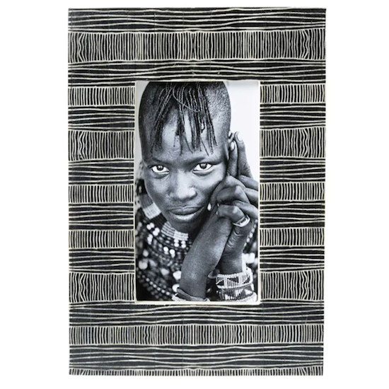 Black Bone with tribal lines photo frame