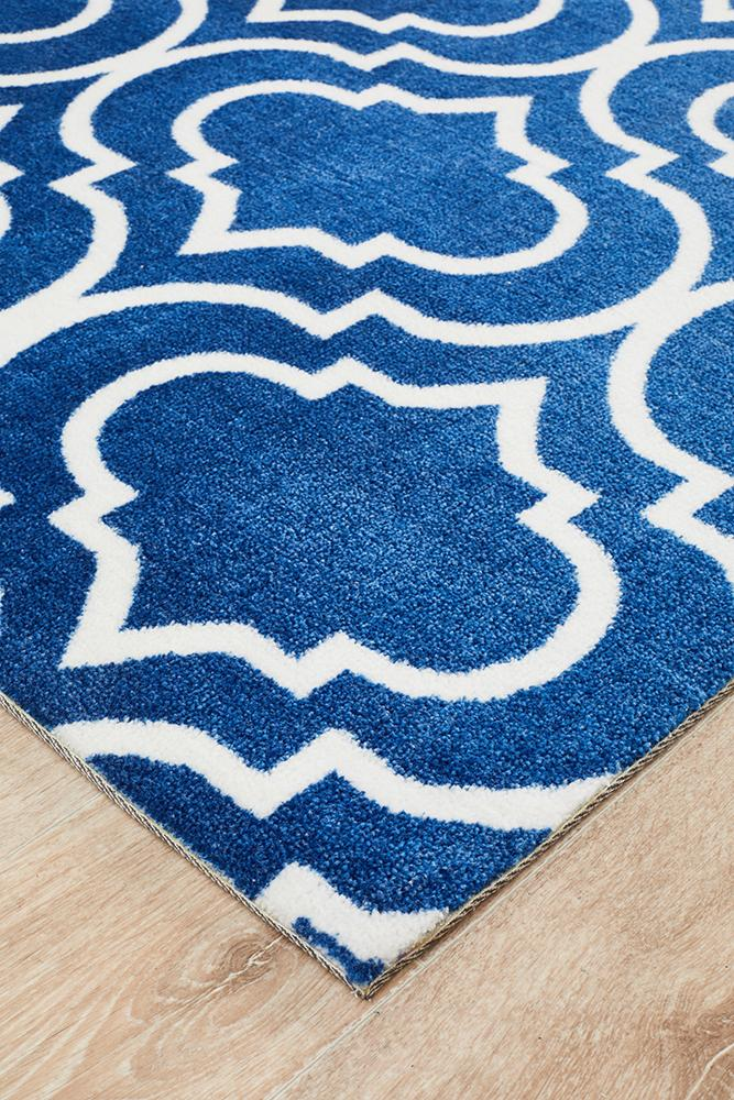 City Modern Trelliss design Rug Navy