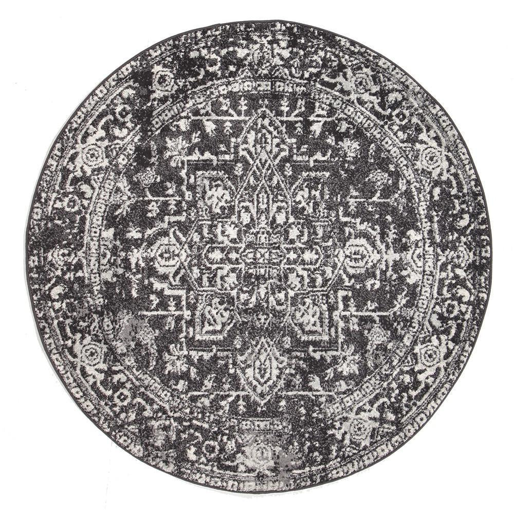 Evoke Scape Charcoal Transitional Round Rug