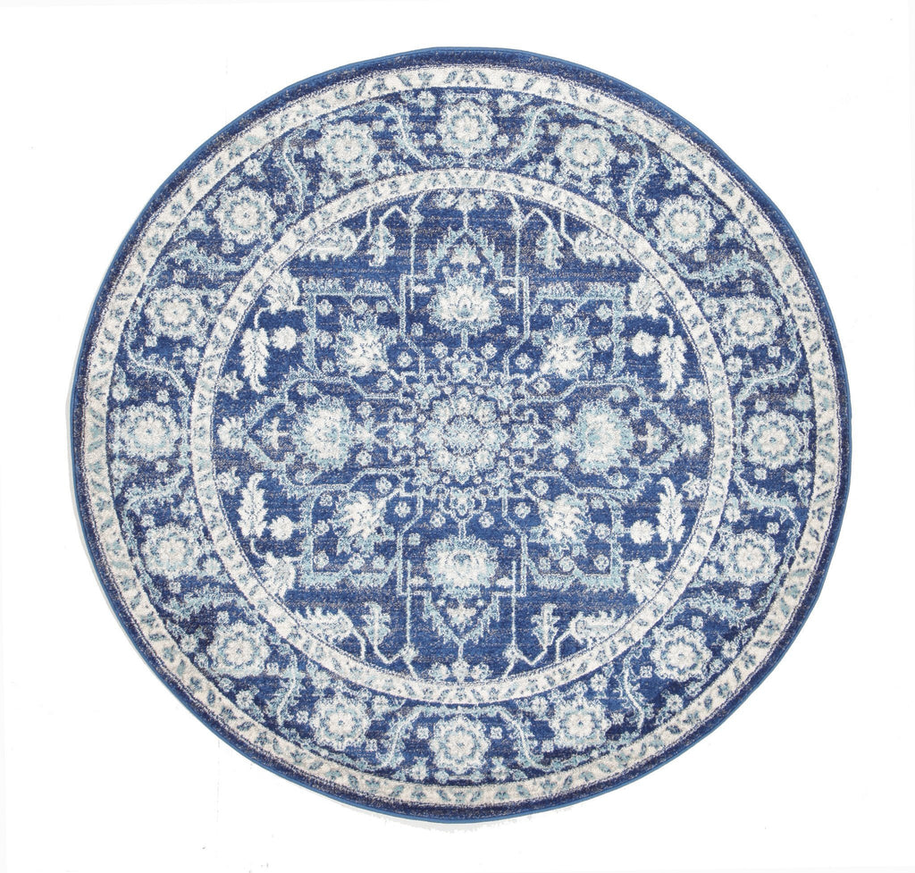 Evoke Release Navy Transitional Round Rug