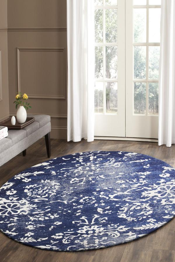Evoke Donna Navy Transitional Round Rug