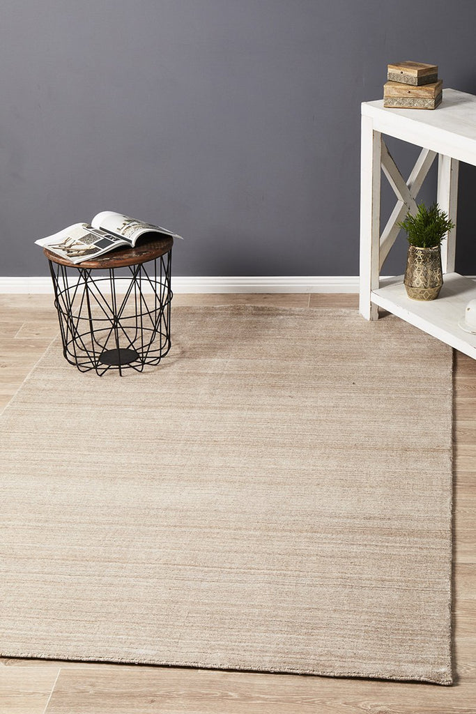 Havana Wool & Silky Viscose Light Natural Rug