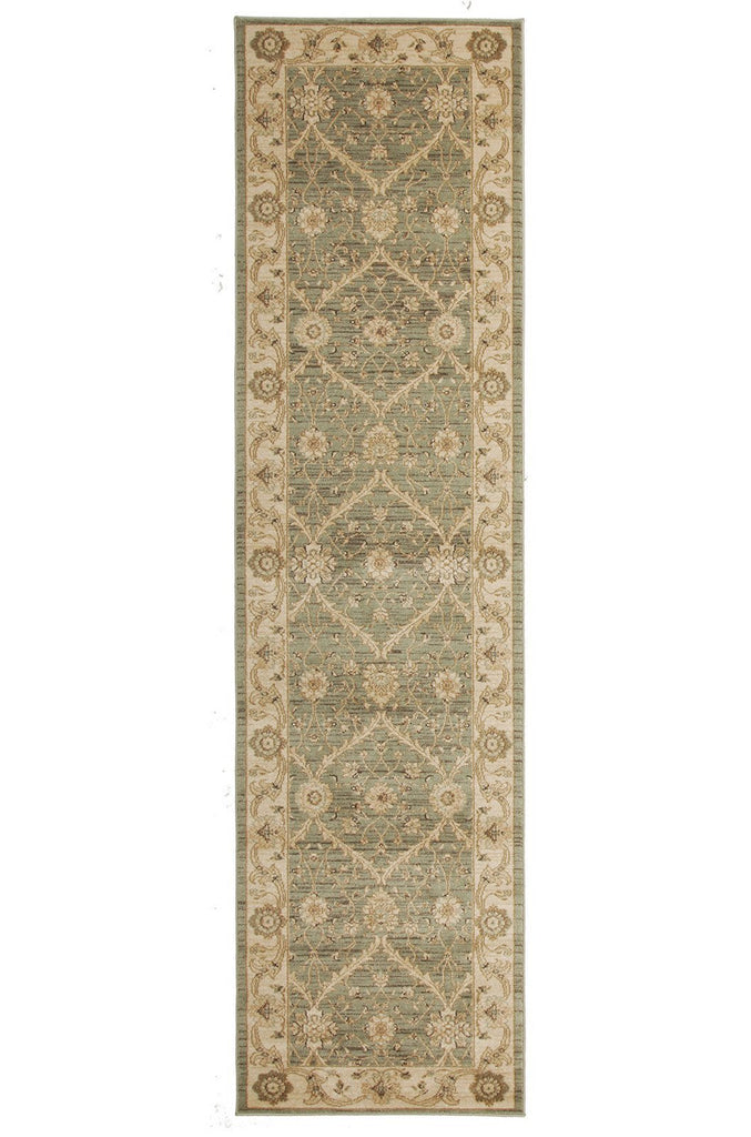 Jewel Chobi Design 800 Light Green Bone Runner Rug