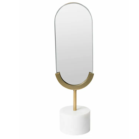 Long oval table mirror
