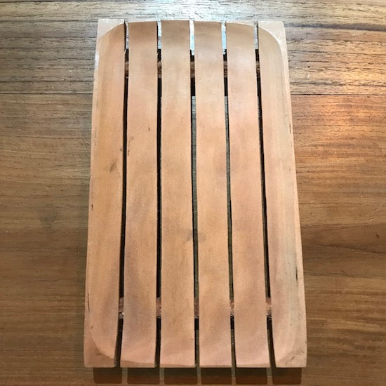 Long teak soap dish