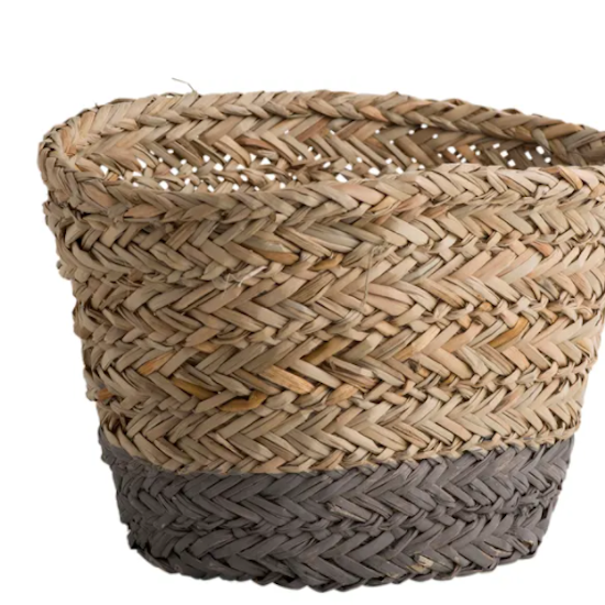 Grey strip Oval Basket