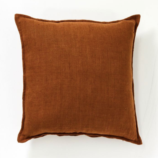Papaya Christophe Linen Cushion Cinnamon 60mm x 60mm