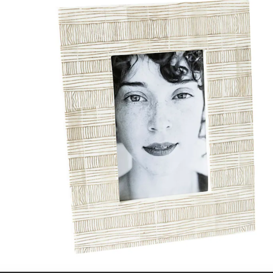 White bone with tribal lines photo frame