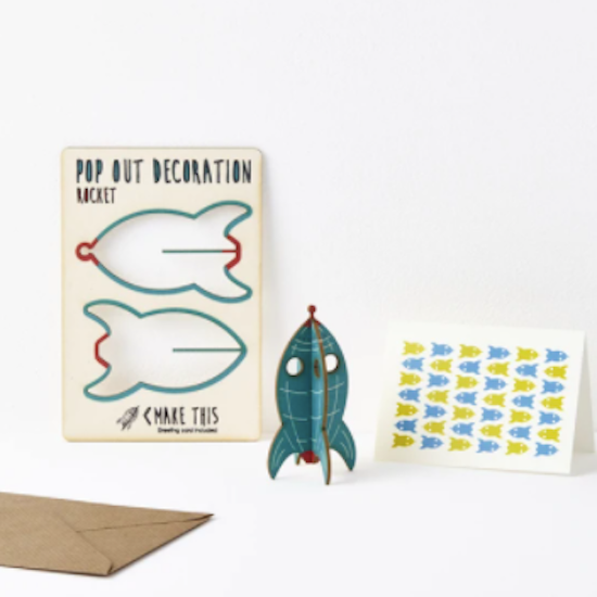 Pop out card and decoration Rocket
