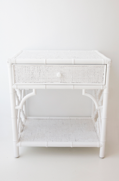 White Chippendale Bedside Table